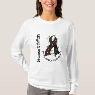 Melanoma Skin Cancer Flower Ribbon 3 T-Shirt
