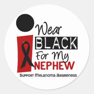MELANOMA SKIN CANCER I Wear Black For My Nephew 9 Classic Round Sticker