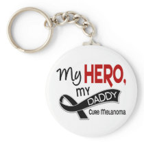 Melanoma Skin Cancer MY HERO MY DADDY 42 Keychain