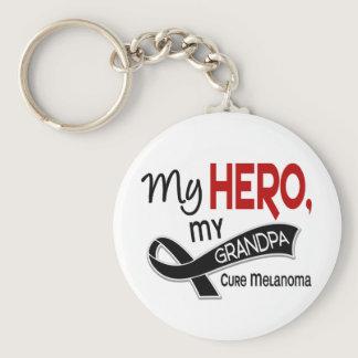 Melanoma Skin Cancer MY HERO MY GRANDPA 42 Keychain