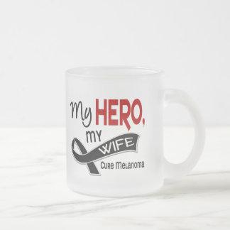 Melanoma Skin Cancer MY HERO MY WIFE 42 Frosted Glass Coffee Mug