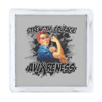 Melanoma Strength Courage Awareness Silver Finish Lapel Pin