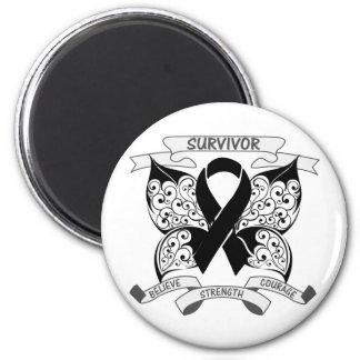 Melanoma Survivor Butterfly Strength 2 Inch Round Magnet