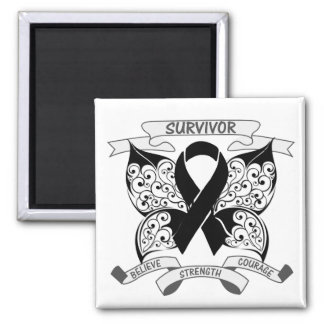 Melanoma Survivor Butterfly Strength 2 Inch Square Magnet