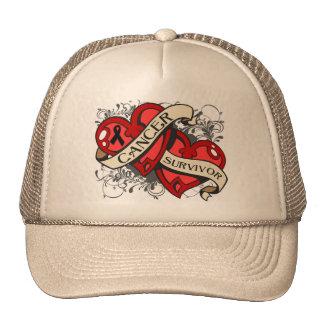 Melanoma Survivor Dual Hearts Trucker Hat
