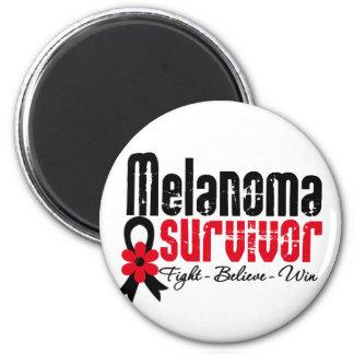 Melanoma Survivor Flower Ribbon 2 Inch Round Magnet