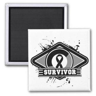 Melanoma Survivor Grunge Logo 2 Inch Square Magnet