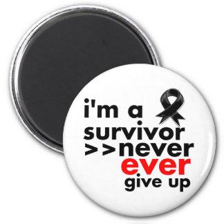 Melanoma Survivor Never Give Up 2 Inch Round Magnet