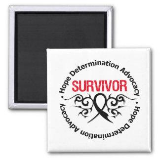 Melanoma Survivor Tribal Ribbon 2 Inch Square Magnet