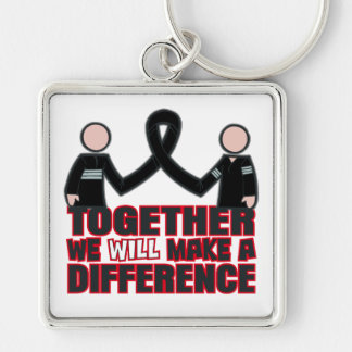 Melanoma Together We Will Make A Difference.png Silver-Colored Square Keychain