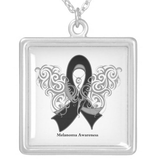 Melanoma Tribal Butterfly Square Pendant Necklace