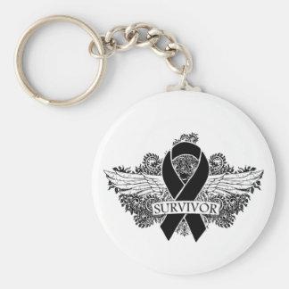 Melanoma Winged SURVIVOR Ribbon Basic Round Button Keychain
