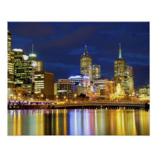 Melbourne, Australia. A nighttime view of the 2 Print