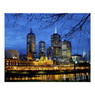 Melbourne, Australia. A nighttime view of the Poster