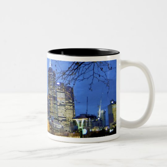 Melbourne, Australia. A nighttime view of the Two-Tone Coffee Mug
