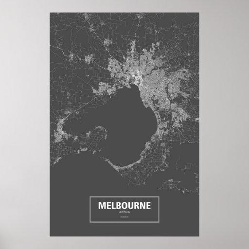 Melbourne, Australia (blanca en negro) Póster