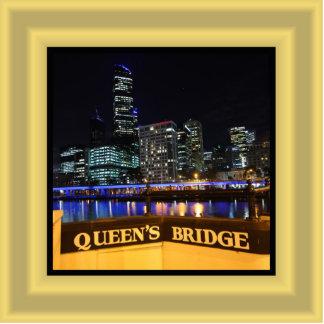 Melbourne Australia CBD Lights over Queen's Bridge Cutout