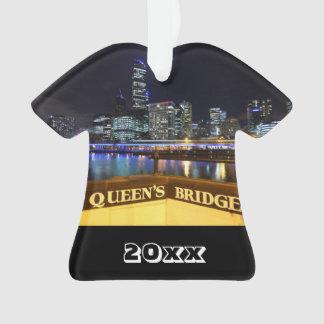 Melbourne Australia CBD Lights over Queen's Bridge Ornament