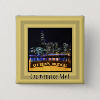 Melbourne Australia CBD Lights over Queen's Bridge Pinback Button
