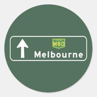 Melbourne, Australia Road Sign Classic Round Sticker