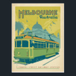 "Melbourne, Australia - Trolley Postcard<br><div class=""desc"">Anderson Design Group is an award-winning illustration and design firm in Nashville,  Tennessee. Founder Joel Anderson directs a team of talented artists to create original poster art that looks like classic vintage advertising prints from the 1920s to the 1960s.</div>"
