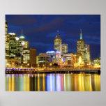 Melbourne, Australia. Una opinión de la noche de l Póster