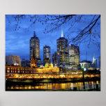 Melbourne, Australia. Una opinión de la noche del Póster