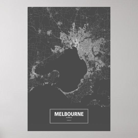Melbourne, Australia (white on black) Poster