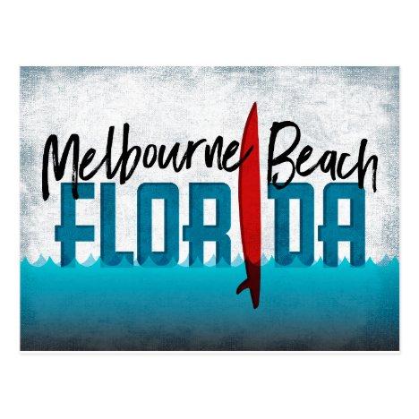 Melbourne Beach Florida Surfboard Surfing Postcard