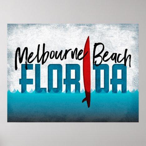 Melbourne Beach Florida Surfboard Surfing Poster
