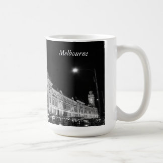 Melbourne City by Night in Black and White - Mug