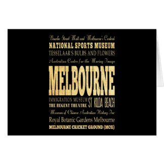 Melbourne City of Australia Typography Art Card