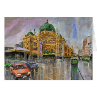 Melbourne Flinders Street Station in the rain Card