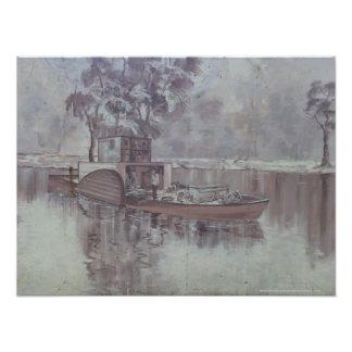 Melbourne - gabarra a lo largo del mural del río fotografias
