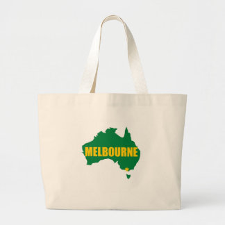 Melbourne Green and Gold Map Large Tote Bag