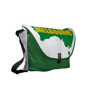 Melbourne Green and Gold Map Messenger Bag