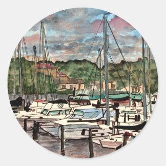 Melbourne Harbor Marina sail boats sailboat art Stickers
