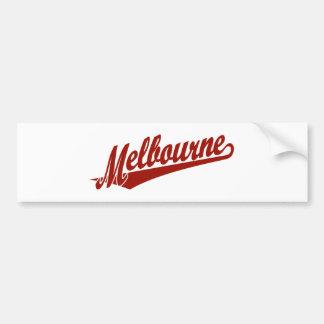 Melbourne script logo in red bumper sticker