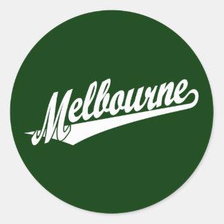 Melbourne script logo in white classic round sticker