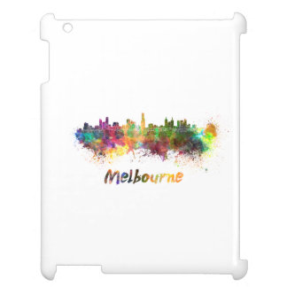 Melbourne skyline in watercolor cover for the iPad