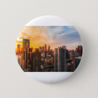 Melbourne Skyline Sunrise Pinback Button