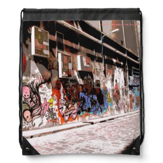 Melbourne Street Art Drawstring Backpack