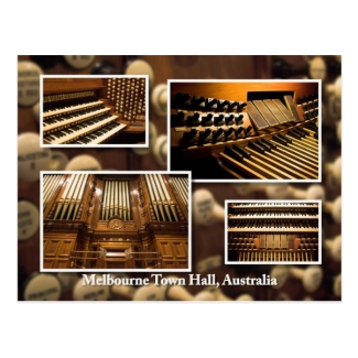 Melbourne Town Hall pipe organ montage postcard