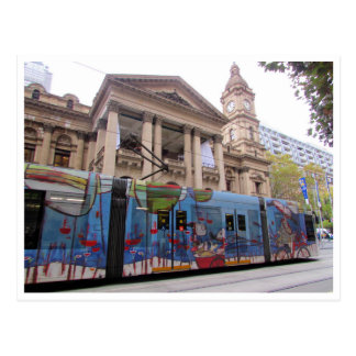 melbourne tram town hall postcard