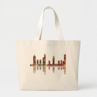 Melbourne Vic Skyline Large Tote Bag