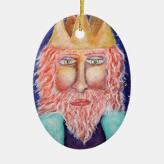 """Melchior"" Three Kings Christmas Art Double-Sided Oval Ceramic Christmas Ornament"