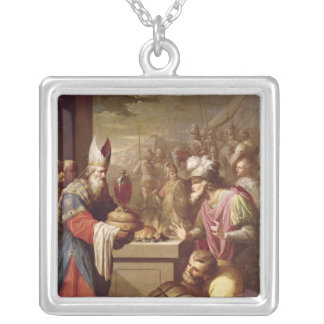 Melchizedek Offering Bread and Wine Square Pendant Necklace