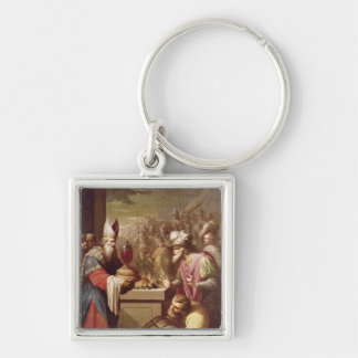 Melchizedek Offering Bread and Wine Silver-Colored Square Keychain