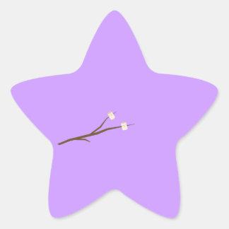 Melcochas en el palillo pegatina en forma de estrella