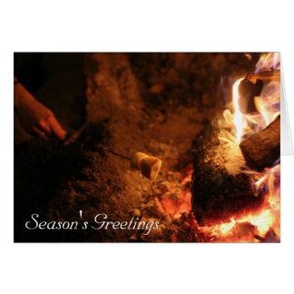 Melcochas en los saludos de la estación del fuego tarjeta pequeña